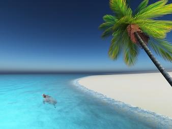 Il rendering 3D di una tartaruga in un mare tropicale nei pressi di una spiaggia di palme
