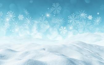 Il rendering 3D di uno sfondo di Natale con la neve