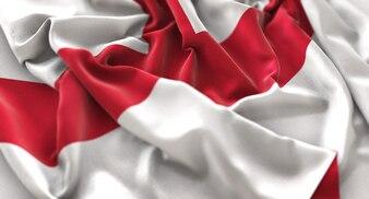 Inghilterra Bandiera Ruffled Splendamente Sventolando Macro Close-Up Shot