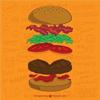 Ingredienti hamburger vettore