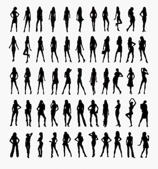 insieme vettoriale di sagome di donna
