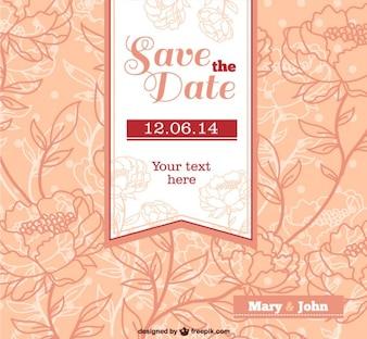 Invito di nozze vettoriale con fiori