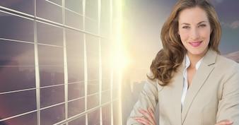 La donna incontro urbano edificio per uffici di fiducia