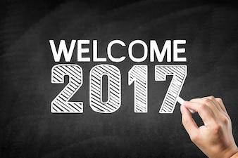 """Lavagna con il messaggio """"benvenuto 2017"""""""