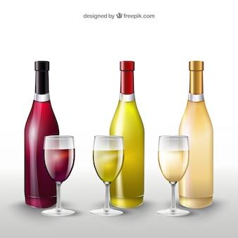 Le bottiglie di vino e bicchieri