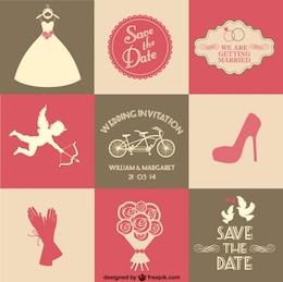 Libero vettore carta di nozze 9 parti
