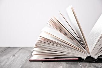 Libro aperto con foglie in rilievo