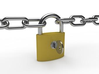 Lucchetto dorato con una catena e una chiave
