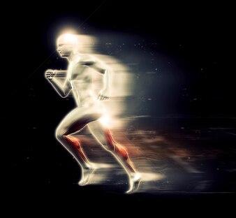Luminoso 3d figura umana in esecuzione