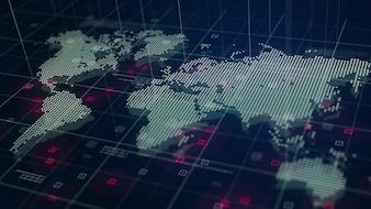 Mappa del Mondo Digitale Ologramma Sfondo Blu