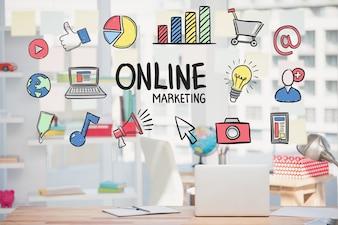 Marketing strategia online con disegni