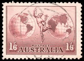 Marrone posta aerea francobollo