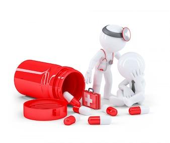 Medico che parla con paziente stressato