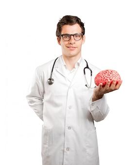 Medico in possesso di un cervello giocattolo contro sfondo bianco