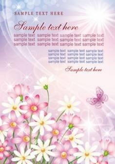 Modello di dolce con gradiente rosa e margherite