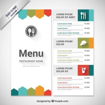 Modello di menu colorato