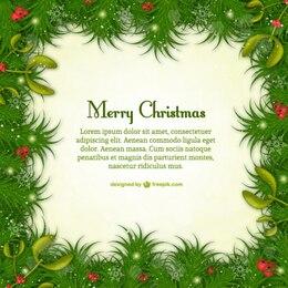Modello di Natale allegra con foglie verdi