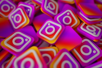 Mucchio di 3D Instagram Logos