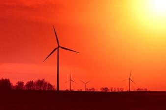 Mulino a vento al tramonto