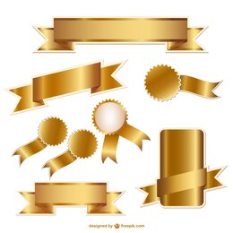 Nastri dorati e distintivi grafica vettoriale