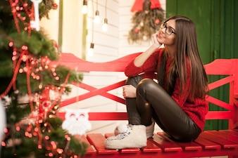 Natale felice ritratto di nuova donna