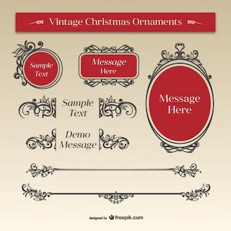 Natale ornamenti calligrafici nero e rosso