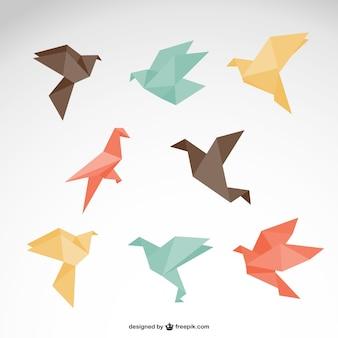 Origami vettore libero logo set