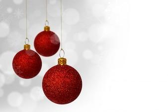 Palle di Natale rosso con sfondo bokeh