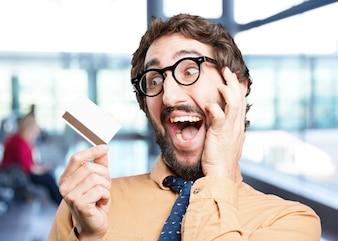 Pazzo con espressione card.funny di credito