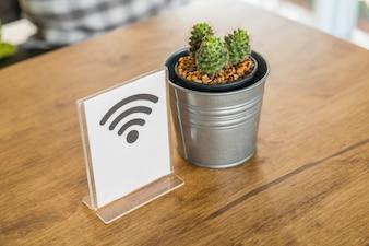 Pentola con cactus e un segnale wifi