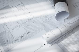 Piani di costruzione del progetto architettonico.