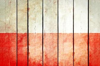 Polonia bandiera grunge in legno.