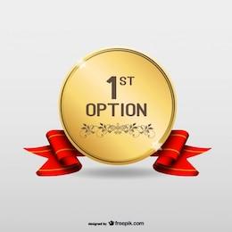 Prima opzione oro vettore medaglia