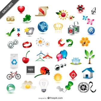 raccolta di materiale squisita tre dimensioni vettore icona