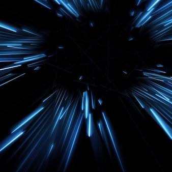Raggi blu provenienti dal centro illustrazione 3D