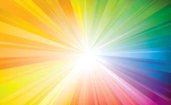 Raggio di sole colorato con piccoli raggi