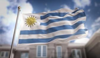 Rendering 3D Bandiera Uruguay sullo sfondo del cielo blu