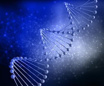 Rendering 3D di un background medico con filo di DNA e punti di collegamento