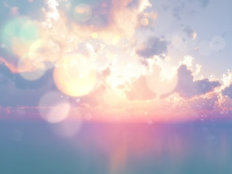 Rendering 3D di un oceano contro un cielo di tramonto con effetto vintage