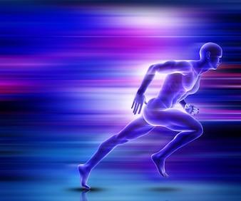Rendering 3D di una figura maschile che sprinting con effetto di movimento