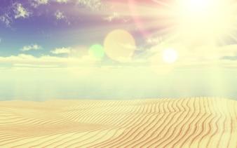 Rendering 3D di una spiaggia sabbiosa e paesaggio oceano con un effetto vintage