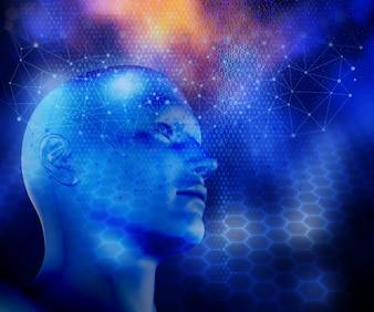Rendering 3D di uno sfondo moderno di tecnologia con linee di collegamento e puntini e testa maschile