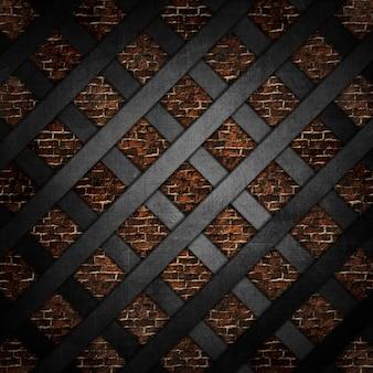 Reticolo metallico 3D contro una struttura di muro di mattoni