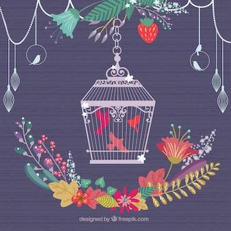 Retro gabbia per uccelli e ornamento floreale