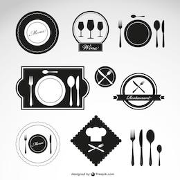 Ristorante simboli vettoriali set