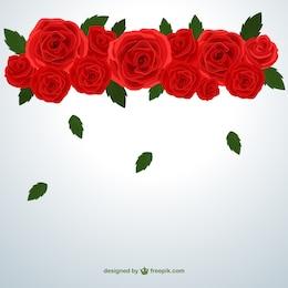 Rose rosse e foglie che cadono