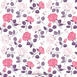 Roses pattern in tonalità di rosa e viola