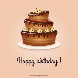Scheda di buon compleanno con la torta