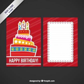 Scheda di compleanno con la grande torta