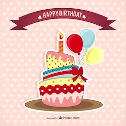 Scheda di compleanno con la torta